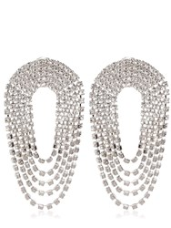 Alessandra Rich Crystal Draped Circle Clip On Earrings Transparent