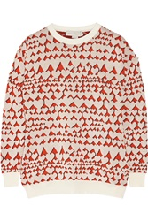 Stella Mccartney Heart Print Cotton Blend Intarsia Sweater White