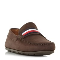 Tommy Hilfiger Corp Tape Flag Webbing Loafer Shoes Brown