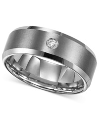 Triton Men's Tungsten Carbide Ring Single Diamond Accent Wedding Band