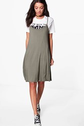 Boohoo Liya Cami Swing Dress Khaki