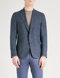 Paul Smith Hopsack Weave Soho Fit Wool And Linen Blend Jacket Navy Blue