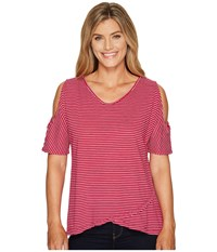 Fresh Produce Pinstripe Crossover Escape Top Persian Red Women's Clothing