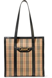 Burberry Embellished Leather Trimmed Checked Cotton Drill Tote Beige