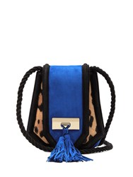 Balmain Chaska Suede Cross Body Bag Blue Multi