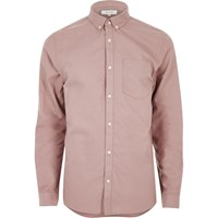 River Island Mens Dusty Pink Oxford Casual Shirt
