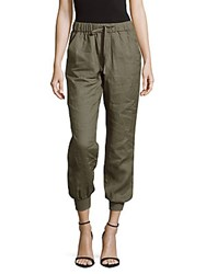 Saks Fifth Avenue Linen Cropped Jogger Pants Olive Green