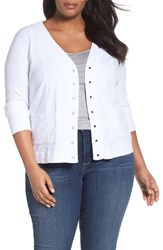 Three Dots Plus Size Women's V Neck Cardigan White