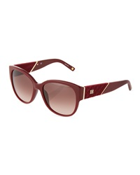 Escada Rounded Velvet Temple Sunglasses Burgundy