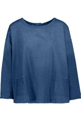 Current Elliott The Joni Cotton Chambray Top Blue