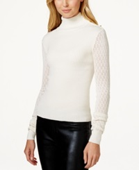 Xoxo Juniors' Pointelle Sleeve Turtleneck Sweater White