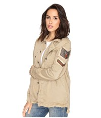Free People Embellished Military Shirt Jacket Sand Women's Coat Beige
