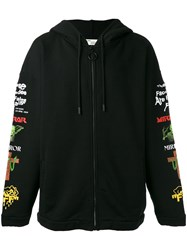 Off White Embroidered Hoodie Black