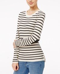 Maison Jules Striped Elbow Patch Sweater Only At Macy's Egret Combo