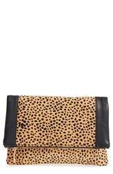 Sole Society Jemma Leopard Print Genuine Calf Hair Foldover Clutch