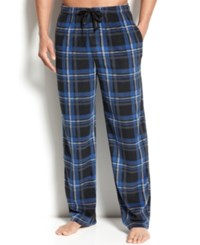 Perry Ellis Men's Plaid Fleece Pajama Pants Blue Grey