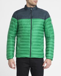 Pyrenex Navy And Green Cyclone Ultra Light Two Tone Down Jacket Blue