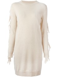 Maison Martin Margiela Mm6 Fringe Sleeve Sweater Dress Nude And Neutrals