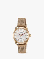 Citizen 'S Ltr Date Mesh Bracelet Strap Watch Rose Gold Silver