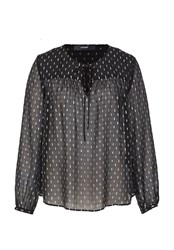 Hallhuber Silk Blouse With Silver Elements Black