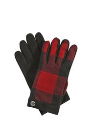 Dsquared Check Wool Flannel And Nubuck Gloves