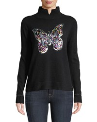 Lisa Todd Sequined Butterfly Cashmere Turtleneck Sweater Black