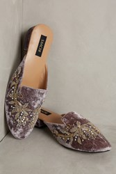 Anthropologie Bella Beaded Velvet Flats Grey
