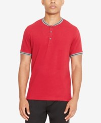 Kenneth Cole Reaction Men's Henley Shirt Red