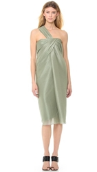 Jason Wu Metallic Bias Draped One Shoulder Dress Dark Sage