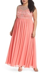 Decode 1.8 Plus Size Women's Beaded Illusion A Line Gown Coral
