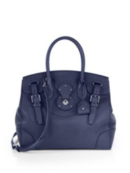 Ralph Lauren The Soft Ricky Leather Satchel Blue