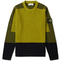 Stone Island Contrast Panel Crew Knit Green