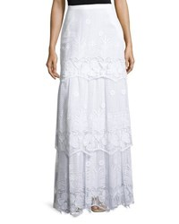 Miguelina Clarity Tiered Floral Lace Maxi Skirt Pure White