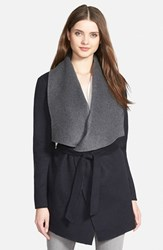 Women's Soia And Kyo Double Face Wool Blend Wrap Coat Navy