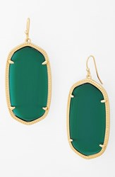 Kendra Scott Women's 'Danielle Large' Oval Statement Earrings Emerald Catseye Gold
