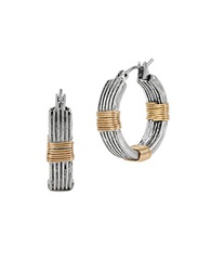 Robert Lee Morris Soho Wire Wrapped Hoop Earrings 0.8In Two Tone
