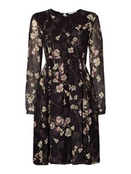 Marella Necton Long Sleeve Floral Print Dress Black
