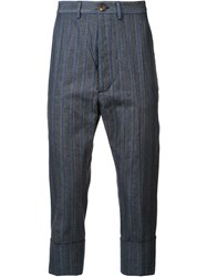 Vivienne Westwood Man Striped Cropped Trousers Blue