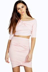 Boohoo Off The Should Crop Bow Top Pink