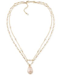 Carolee Gold Tone Imitation Pink Pearl Layered Pendant Necklace