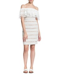 Tracy Reese Off The Shoulder Flounce Dress White
