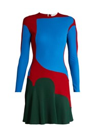 Esteban Cortazar Colour Block Ribbed Knit Dress Green Multi