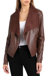 Bagatelle Drape Faux Leather And Faux Suede Jacket Mahogany