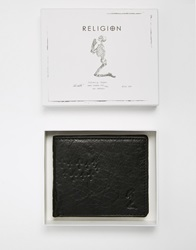 Religion Leather Embossed Wallet Black