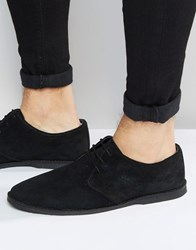 Asos Derby Shoes In Suede With Piped Edging Black