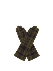 Sonia Rykiel Tartan Wool And Leather Gloves Green
