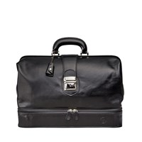 Maxwell Scott Bags Luxury Italian Leather Doctor Bag Large Donnini Night Black
