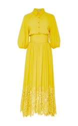 Lela Rose Full Sleeve Dress With Lace Hem Yellow