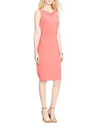 Lauren Ralph Lauren Cowl Neck Ruched Jersey Dress Equestrian Coral