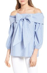Pleione Women's Bow Front Off The Shoulder Top Blue White Stripe